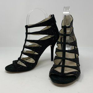 Michael Kors Mavis Black Glitter Caged Heels